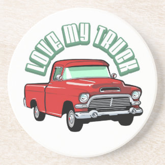 I love my truck - Old, classic red pickup Drink Coaster