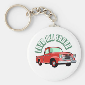 I love my truck - Old, classic red pickup Keychain