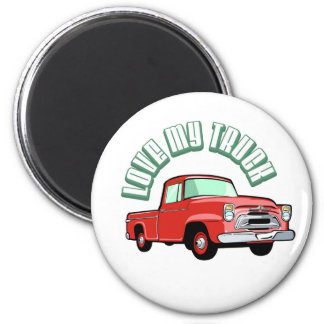 I love my truck - Old, classic red pickup Magnet