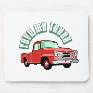 I love my truck - Old, classic red pickup Mousepads