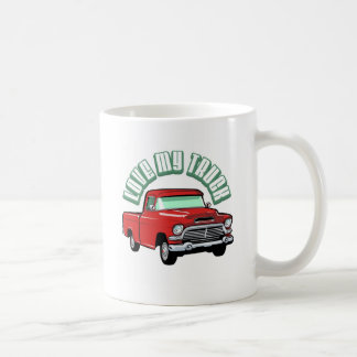 I love my truck - Old, classic red pickup Mugs