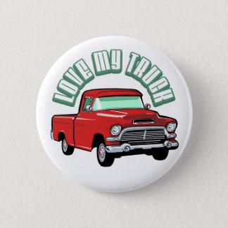 I love my truck - Old, classic red pickup Pinback Button