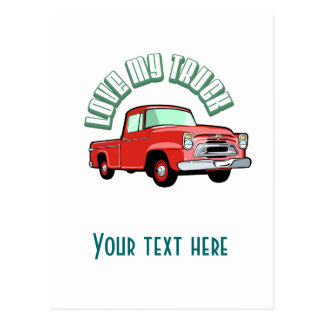 I love my truck - Old, classic red pickup Postcard