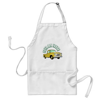 I love my truck - Old, classic yellow pickup Aprons