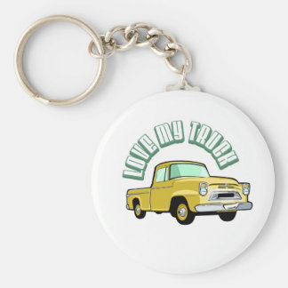 I love my truck - Old, classic yellow pickup Keychain