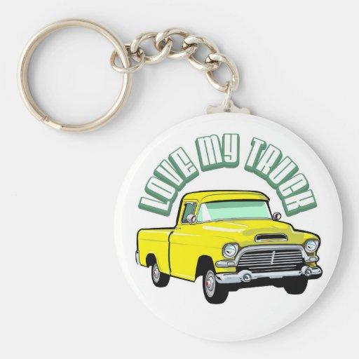 I love my truck - Old, classic yellow pickup Keychain