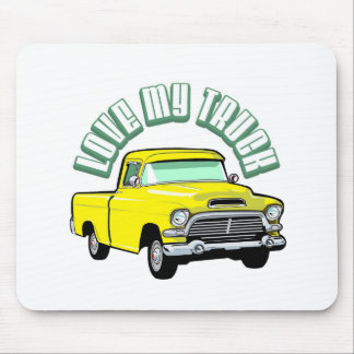 I love my truck - Old, classic yellow pickup Mousepads