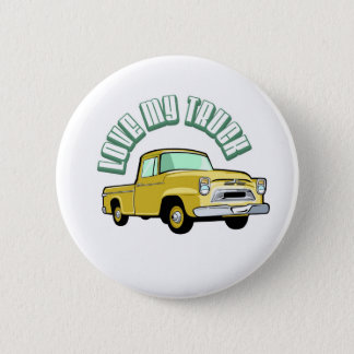 I love my truck - Old, classic yellow pickup Pinback Button