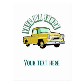 I love my truck - Old, classic yellow pickup Postcard