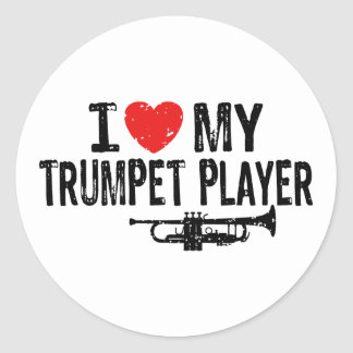 I Love My Trumpet Player Classic Round Sticker