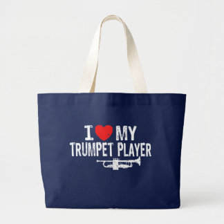 I Love My Trumpet Player Large Tote Bag