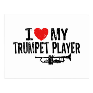 I Love My Trumpet Player Postcard