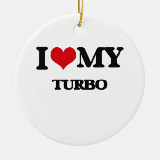 I Love My TURBO Double-Sided Ceramic Round Christmas Ornament