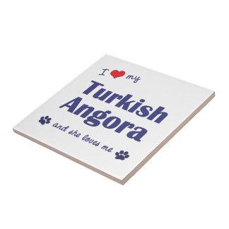 I Love My Turkish Angora (Female Cat) Ceramic Tile