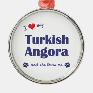 I Love My Turkish Angora (Female Cat) Christmas Ornament