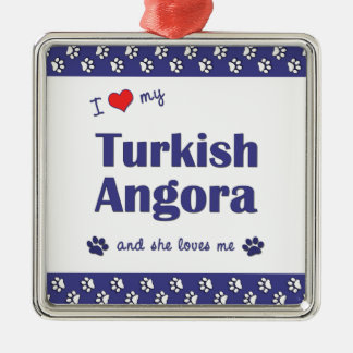 I Love My Turkish Angora (Female Cat) Ornaments