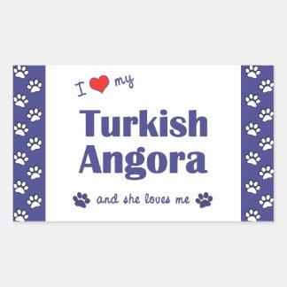 I Love My Turkish Angora (Female Cat) Rectangular Sticker