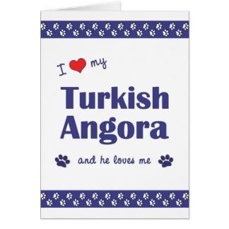 I Love My Turkish Angora (Male Cat) Cards