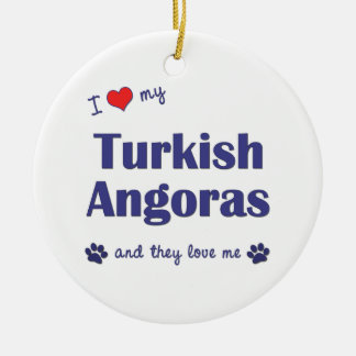 I Love My Turkish Angoras (Multiple Cats) Christmas Tree Ornament