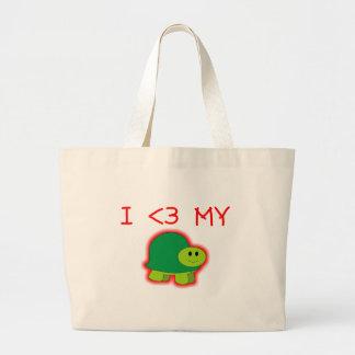 I Love My Turtle Large Tote Bag