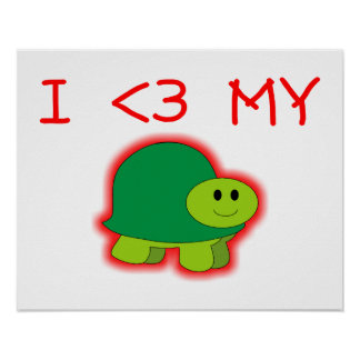 I Love My Turtle Poster