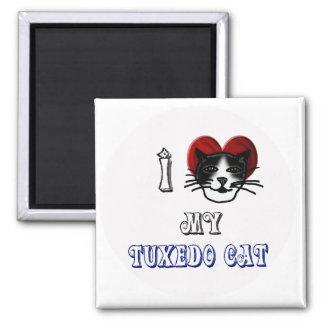 i love my tuxedo cat 2 inch square magnet