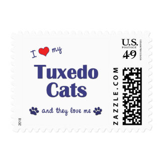 I Love My Tuxedo Cats (Multiple Cats) Stamp