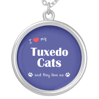 I Love My Tuxedo Cats (Multiple Cats) Silver Plated Necklace