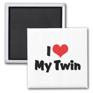 I Love My Twin 2 Inch Square Magnet