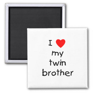 I Love My Twin Brother 2 Inch Square Magnet