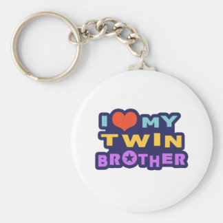 I Love My Twin Brother Basic Round Button Keychain