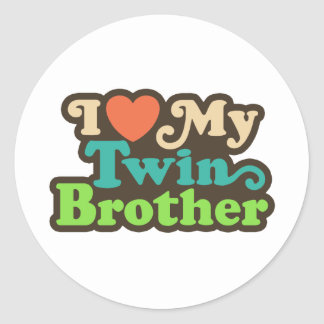 I Love My Twin Brother Classic Round Sticker