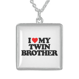 I LOVE MY TWIN BROTHER SQUARE PENDANT NECKLACE