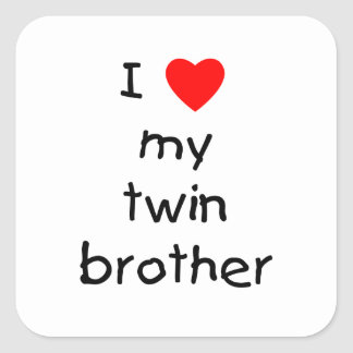 I Love My Twin Brother Square Sticker