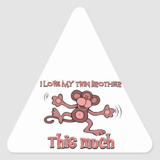 I love my Twin brother this much Triangle Sticker