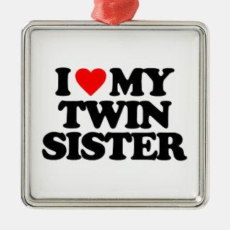 I LOVE MY TWIN SISTER CHRISTMAS TREE ORNAMENTS