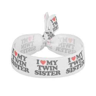 I LOVE MY TWIN SISTER RIBBON HAIR TIE