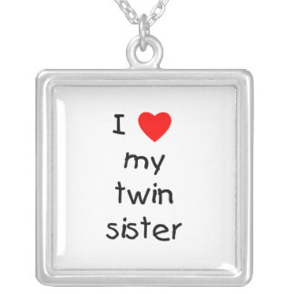 I Love My Twin Sister Square Pendant Necklace