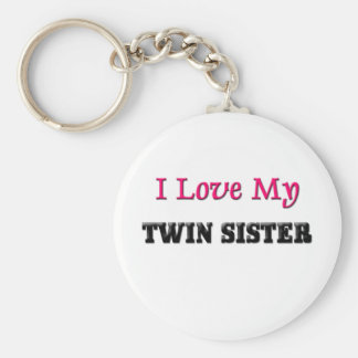 I Love My Twin Sisters Basic Round Button Keychain