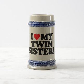 I LOVE MY TWIN SISTERS BEER STEIN