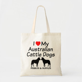I Love My Two Australian Cattle Dogs Tote Bag