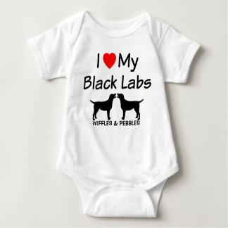 I Love My TWO Black Labs Baby Bodysuit