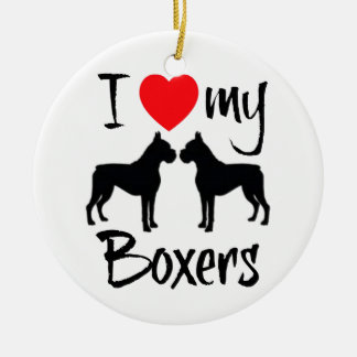 I Love My Two Boxer Dogs Ceramic Ornament