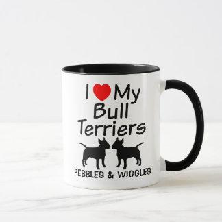I Love My Two Bull Terrier Dogs Mug