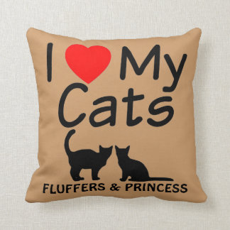 I Love My TWO Cats Throw Pillow