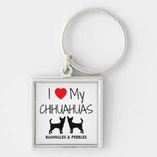 I Love My Two Chihuahua Custom Keychain