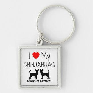 I Love My Two Chihuahua Custom Keychain