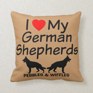 I Love My TWO German Shepherds Throw Pillow