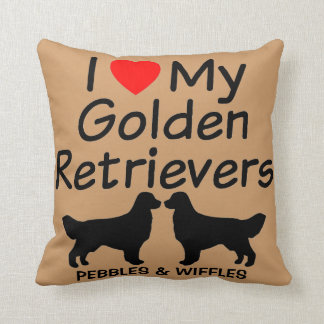 I Love My TWO Golden Retrievers Throw Pillow