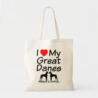 I Love My TWO Great Dane Dogs Tote Bag